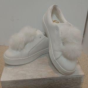 Sam Edelman White pom 9.5 Leather Sneakers Tennis